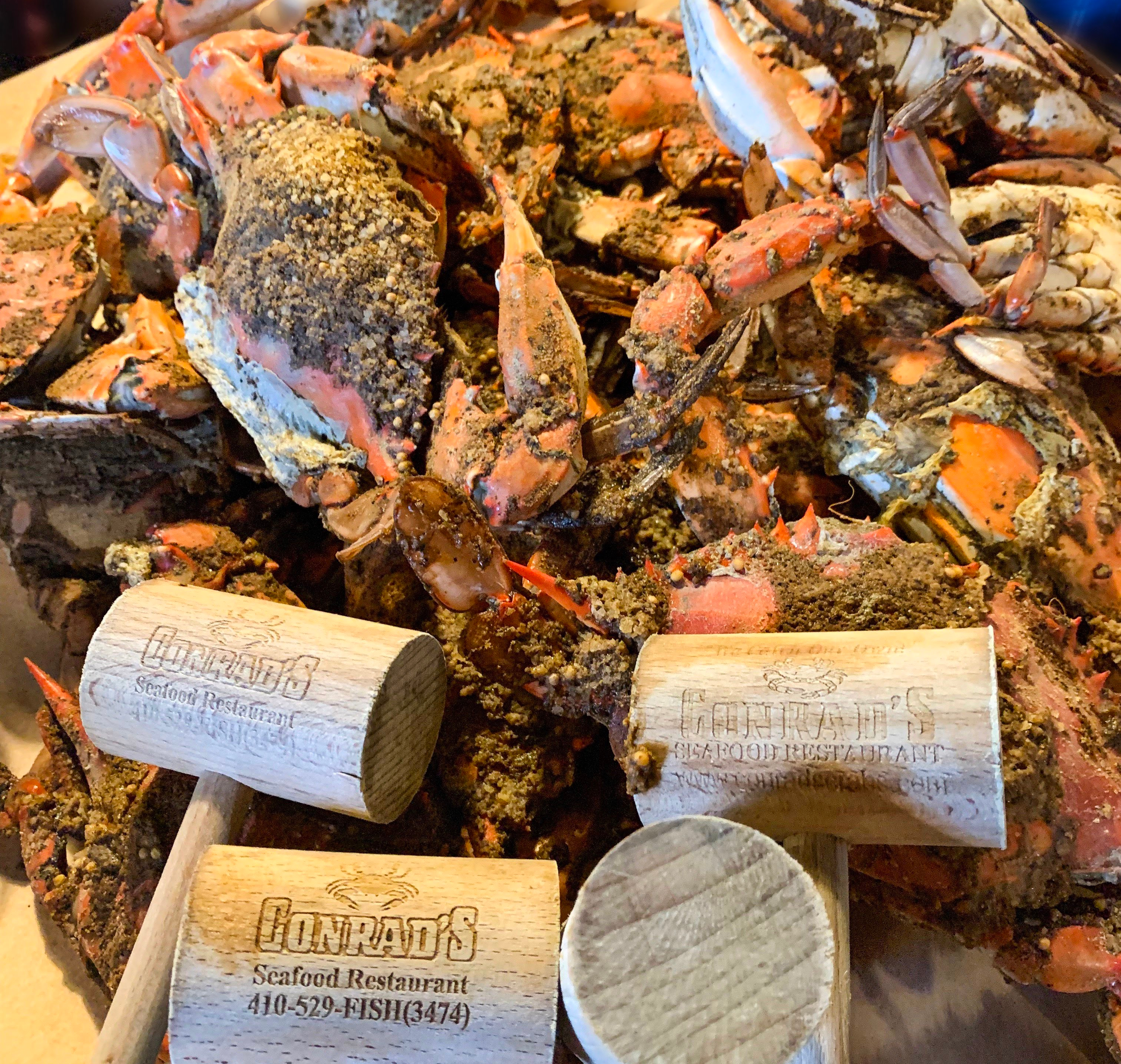 Maryland steamed crabs in a pile and crab mallets in front.